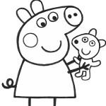 Раскраска свинка Пеппа с игрушкой