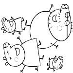 Раскраска семьи Свинки Пеппы