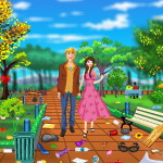 Уборка в парке на день Валентина