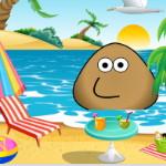 Поу отдыхает на пляже