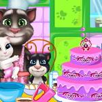 Кот Том и семья Готовка торта