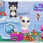 Том равным образом Анджела стирают игрушки