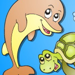 Раскраска с морскими животными
