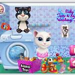 Говорящий малыш Том и Анжела стирают игрушки