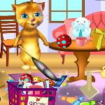 Говорящий кот Рыжик убирает в комнате