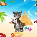 Кот Том и малыши на пляже