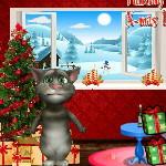 Кот Том украшает комнату к новому году