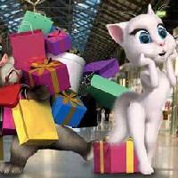 Кот Том и Анжела отправились за покупками